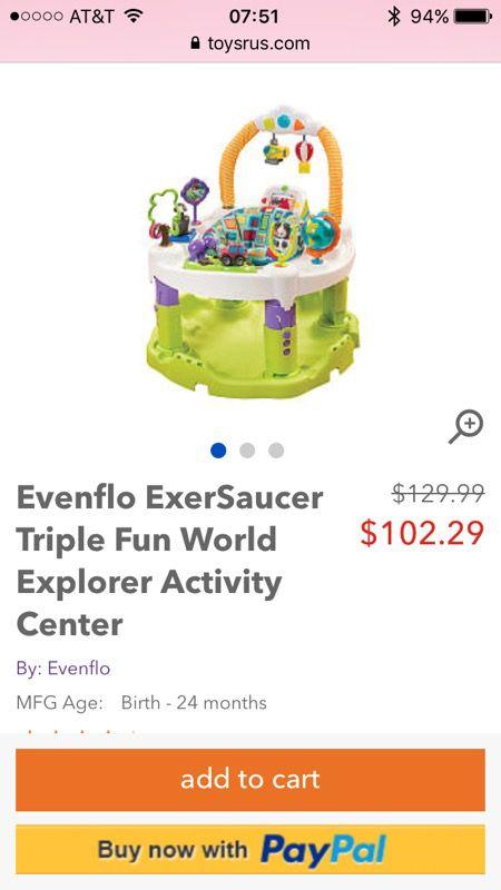 360f56a28b63 Evenflo ExerSaucer Triple Fun World Explorer Activity Center for ...