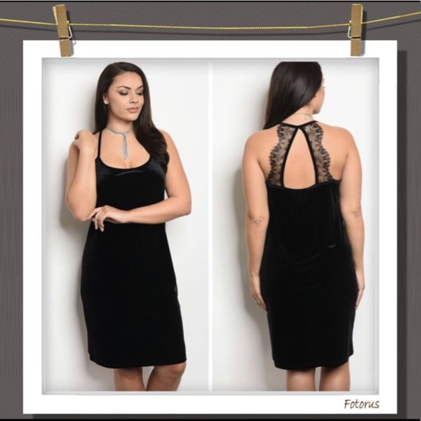 New plus size black Velvet and lace dress for Sale in Orlando, FL ...