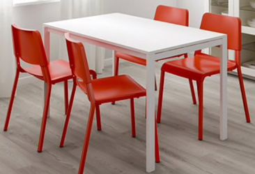 White Metal Dining Table just like new! Thumbnail