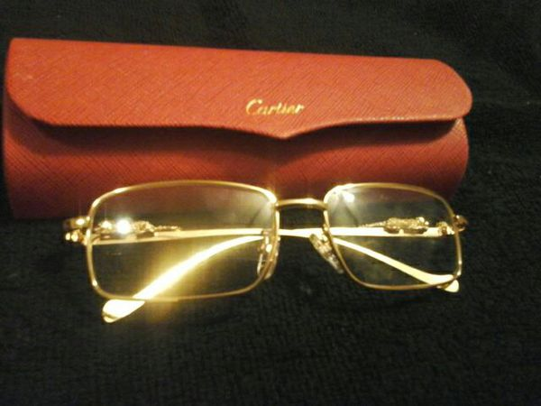 9815d415c8d29 Cartier Gold Exclusive Eyeglass Frames Vintage with Cheetah on sides Heavy  for Sale in Kenneth City