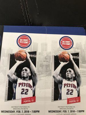 Pistons vs Brooklyn Nets tonight for Sale in Detroit, MI
