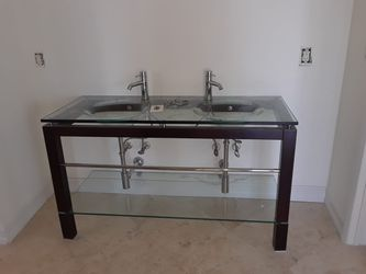 Double sink Bathroom cabinet with faucets Thumbnail