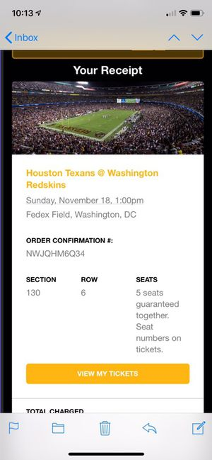 Redskins vs Texans Ticket for Sale in Fairfax, VA