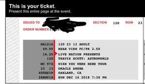 Travis Scott Astroworld - 2 Tickets $200 for Sale in San Francisco, CA