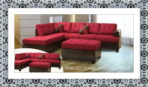 Red sectional free ottoman and delivery for Sale in McLean, VA