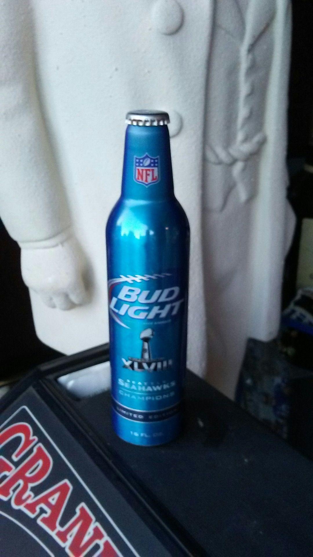 Seattle seahawks bud light aluminum bottle Superbowl.