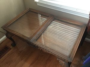Antique Oak coffee table w 2 glass panels for shallow shadow box for Sale in Reston, VA
