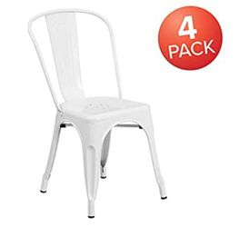 BRAND NEW  Flash Furniture Metal Indoor-Outdoor Chair, 4 Pack, White  Brand: Flash Furniture Model: 4CH31230WH Thumbnail