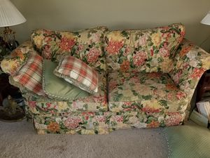 Yellow flowerd sofa for Sale in Akron, OH