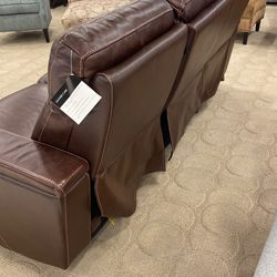 Leather Power 3 Recliner With Cup Holders Browm Thumbnail