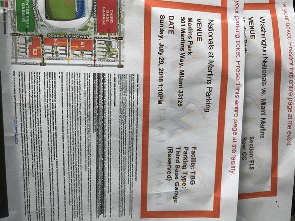 Miami Marlins Vs Washington Nationals 2 Tickets Parking P