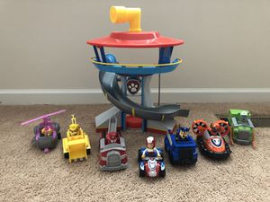 Paw Patrol Toys - complete set and look out tower for Sale in Clarksburg, MD