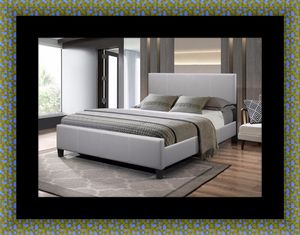 Grey platform bed with mattress for Sale in Takoma Park, MD