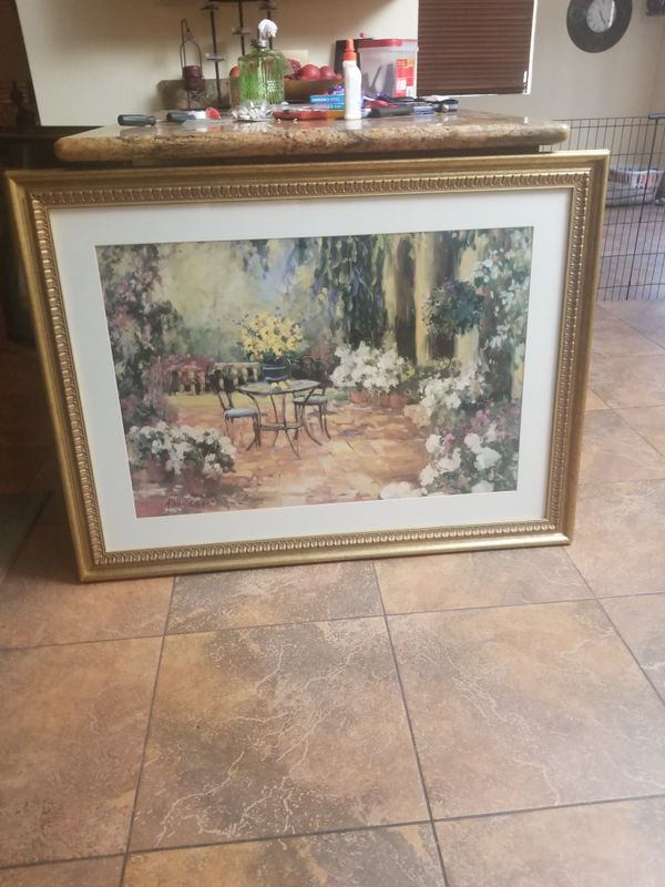 Large beautiful painting print by Allayn Stevens in glass frame ...