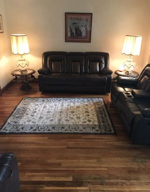 Gently used brown reclining leather couches and recliner chair for Sale in Washington, DC