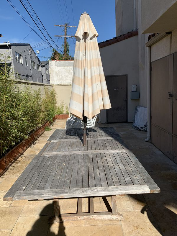 Beautiful Reclaimed Outdoor Wood Table With Umbrella For