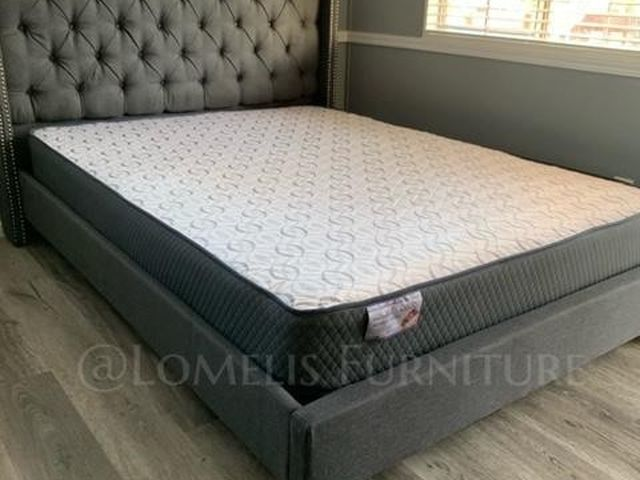 Queen Gray tufted Bed W. Orthopedic mattress Included