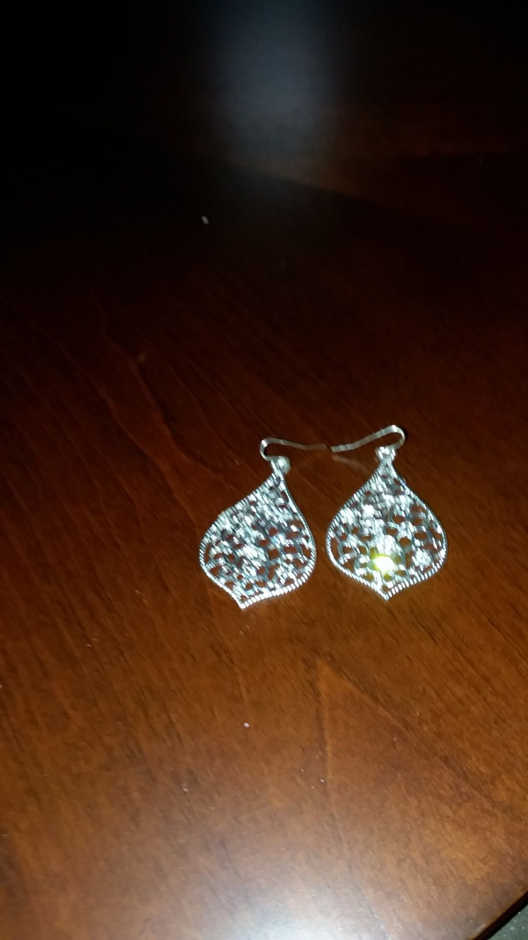Tear-drop pierced earrings, flower design studded with crystals. New, never worn.
