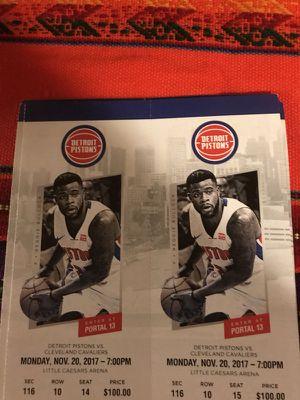Detroit Pistons vs Cleveland Cavaliers 11/20 for Sale in Detroit, MI