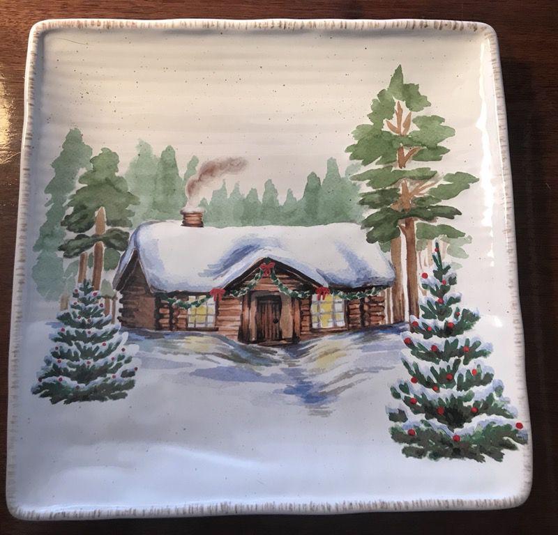 SIX Square Stoneware Holiday Plates - St Nicholas. Winter White