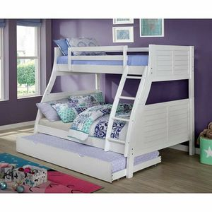 Photo WHITE FINISH TWIN OVER FULL SIZE BUN BED + TRUNDLE