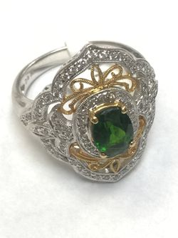 18 k yellow gold and 14k white gold ring size 7.5 Thumbnail