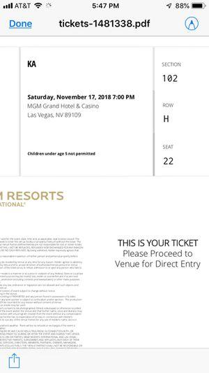 3 tix to KA Cirque Sat. , Nov. 17 Great Seats Big Discount! for Sale in Boulder, CO