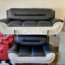 Veloce Black/White Living Room Set /sofa&loveseat 🖤39 $DOWN PAYMENT  Thumbnail