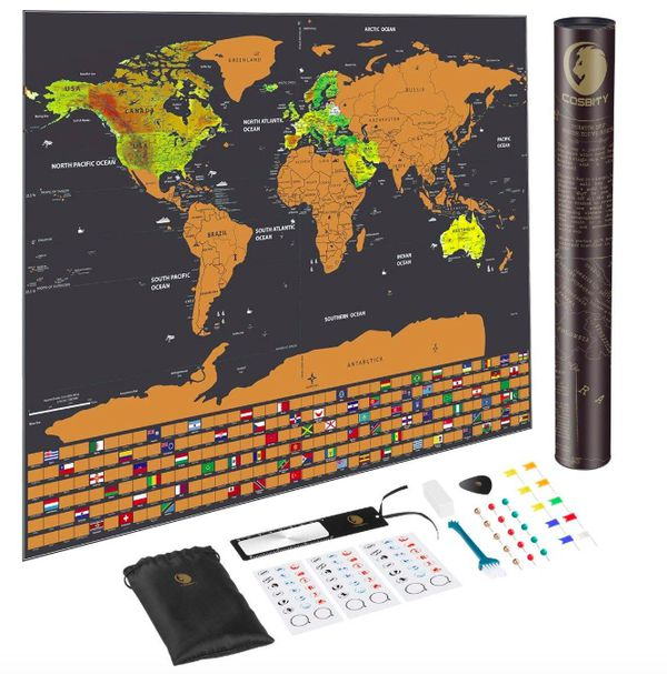 Brand new seal in box scratch off map of the world deluxe travel brand new seal in box scratch off map of the world deluxe travel map with us states and country flags including flagsmap push pinsscratchermemor for gumiabroncs Image collections