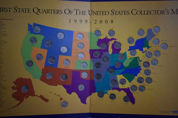 First state quarters of the United States collectors map for Sale in ...