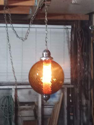 Photo Vtg MCM retro Amber pattern glass. Hanging swag lamp.