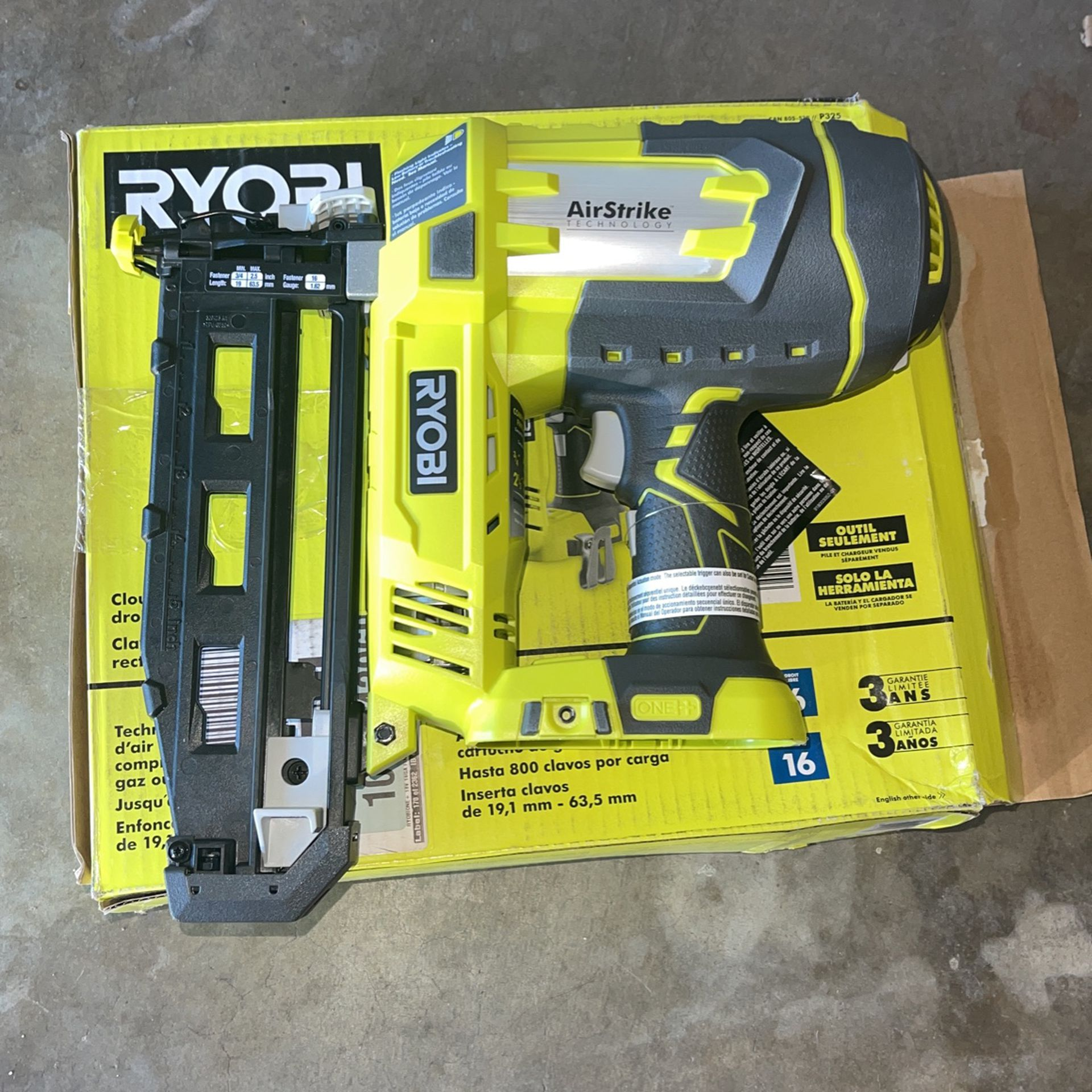 RYOBI ONE+ 18V Cordless AirStrike 16-Gauge 2-1/2 in. Straight Finish Nailer (Tool Only) with Sample Nails