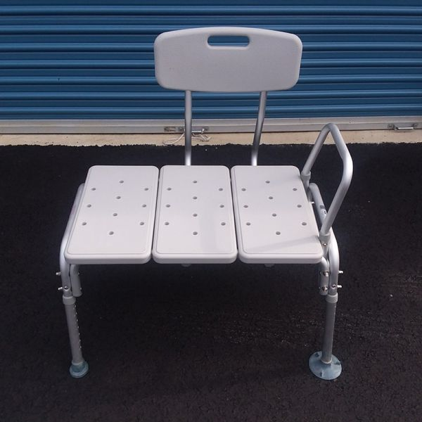 Adjustable Bath Tub Transfer Bench Shower Chair With Backrest And