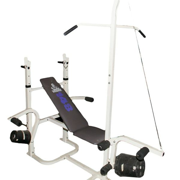 Weider incline bench home gym with pull down butterfly dip