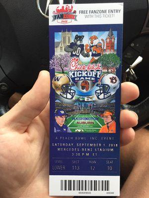 Auburn vs. Washington Chik-fil-A Kick-off game. Great seats. 2 tickets $300 each for Sale in Seattle, WA