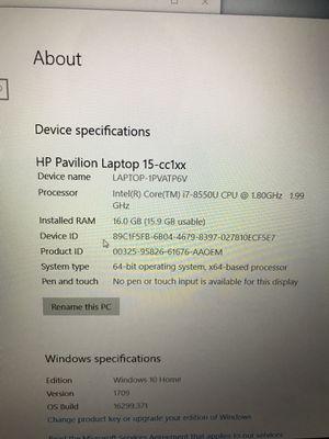 HP pavilion 15 laptop Intel i7 8550U/16gb ram/512gb SSD mint for Sale in Clifton, VA