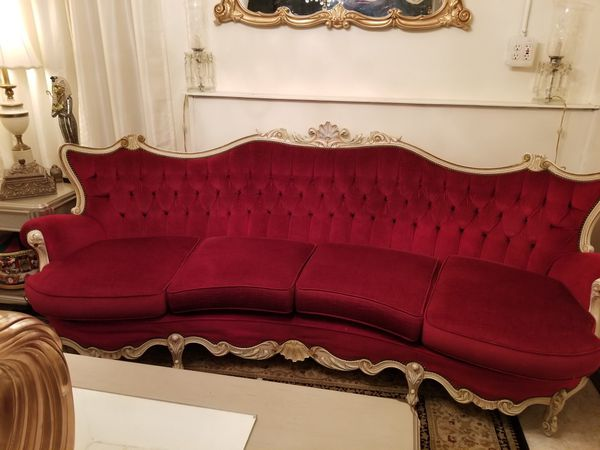 Red velvet Louie the 15th sofa and 2 side chairs for Sale in Rockford, IL -  OfferUp