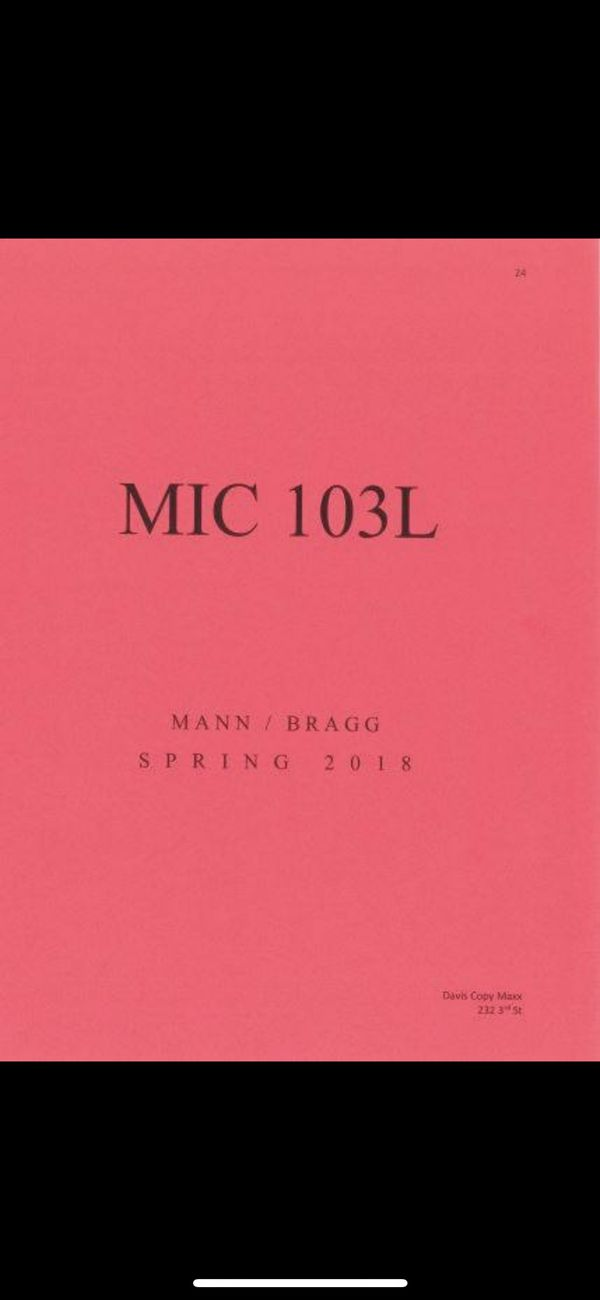 MIC 103L Lab Manual--PDF FIle for Sale in Sacramento, CA - OfferUp