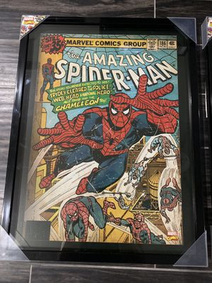 NEW! Framed Marvel & DC comic book posters. 19 inches by 25 inches.Selling each for $50 or all 5 for $225. (spiderman,batman,captain america,superma for Sale in Rockville, MD