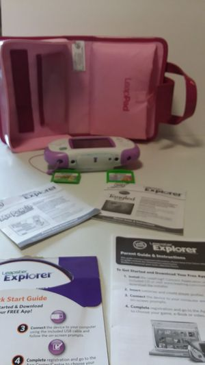 Leapster explorer with case and 2 cartridges for Sale in Suffolk, VA