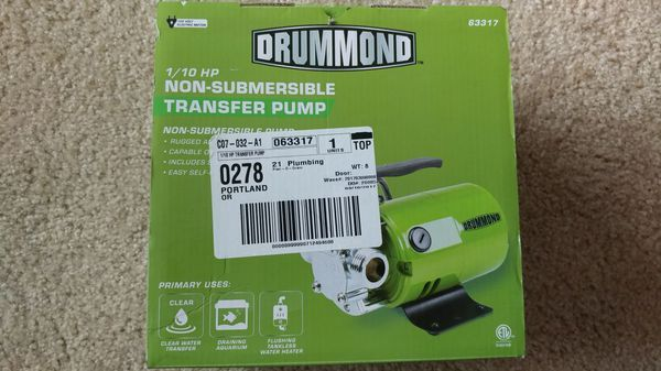 Drummond 1/10HP Transfer Pump for Sale in Portland, OR - OfferUp