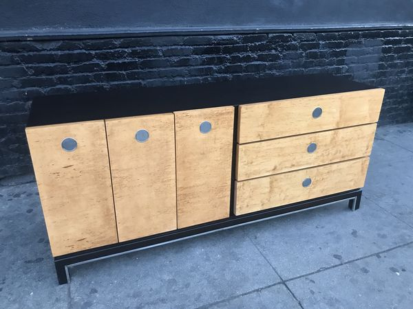 Mid Century Modern Burlwood Dresser Credenza At The Manner Of Milo