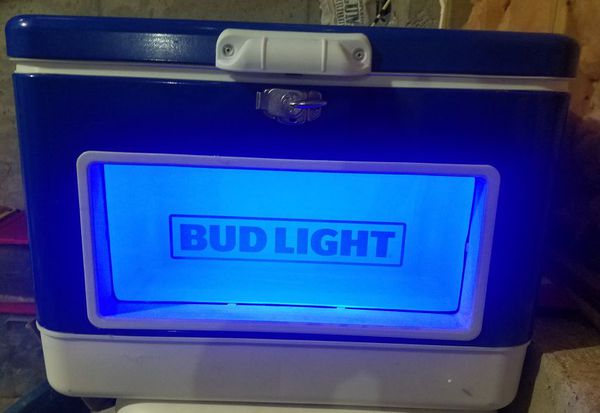 50qt Bud Light Cooler with window and lights for Sale in Buford, GA -  OfferUp