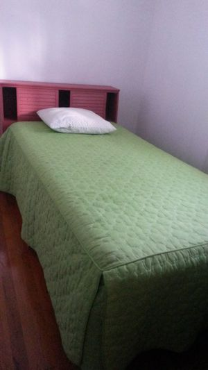 Solid wood headboard with twin size mattress and box spring for Sale in Silver Spring, MD