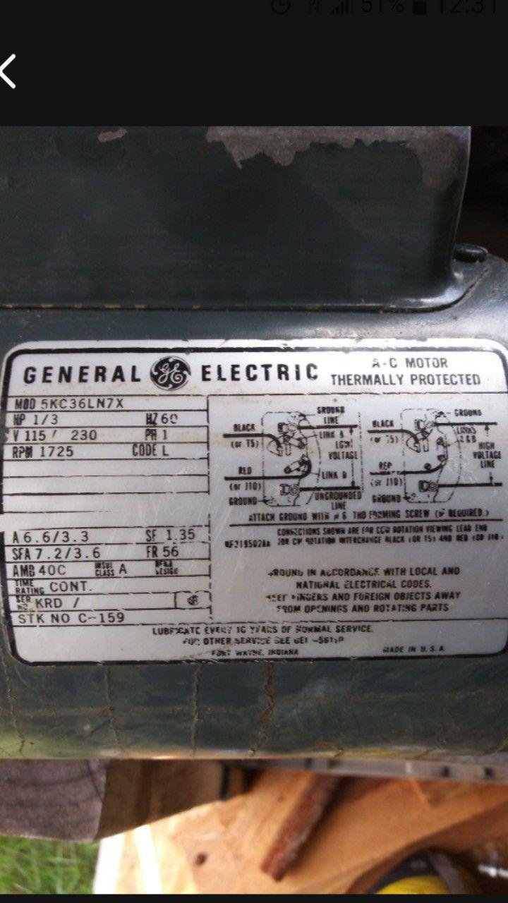 GE  A-C Motor  1/3hp
