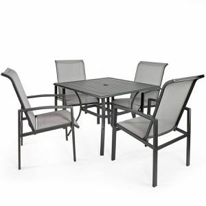 Photo 5-Piece Outdoor Patio Set Table and Chairs Dining 4 Chairs Set Garden Furniture Backyard Patio Porch