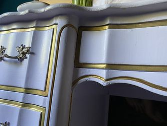 French Rustic Cottage Chic Lavender Gold Handpainted Desk Thumbnail