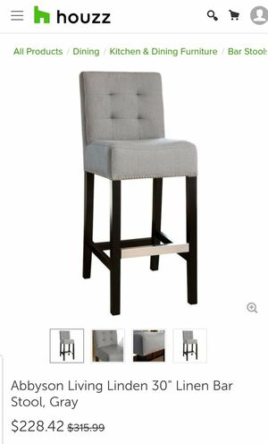 """New Abnyson Living Linden 30"""" Linen Bar Stool in Grey for Sale in Hilliard, OH"""