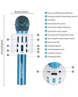 Wireless Karaoke Microphone, Bluetooth Microphone with LED Lights, 3 in 1 Portable Handheld Speaker Machine for Kids & Adults, Karaoke Microphone for Thumbnail