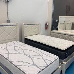 Dreamur Champagne Panel Youth Bedroom Set.. Dresser Mirror Nightstand Bed Frame Full Size (( Twin, Queen, King Size Available)) Thumbnail